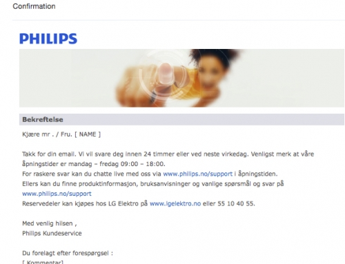 Philips på svorsk kundeservice?